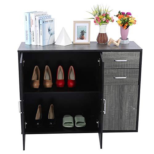 Cajonera Aparador Mueble de Cocina Mueble de recibidor Moderno Archivador Mueble de Almacenamiento Aparador con 2 cajones 3 Puertas 100 x 33,8 x 74,5cm
