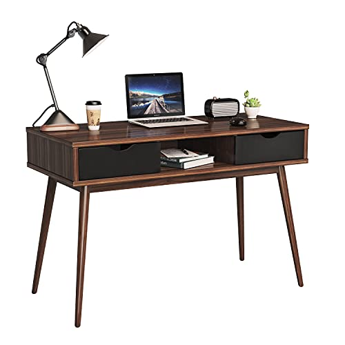 Tangkula Mid Century Desk with Drawers, Writing Computer Desk with Spacious Desktop & Sturdy Construction, Compact Laptop Table Workstation, Desk for Bedroom Home Office (Walnut)