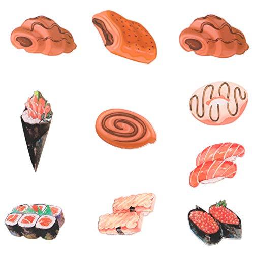 SOLUSTRE 10 Unidades de Imanes Divertidos de Sushi Imán Japonés para Nevera Adhesivo 3D para Pizarra Blanca Pizarra de Mensajes Pegatinas Magnéticas Patrón Aleatorio