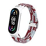 Sunbose Il cinturino in nylon è adatto per Mi Band 6 / Mi Band 5 / Mi Band 4 / Mi Band 3, cinturino in nylon intrecciato di colore intercambiabile con fibbia in metallo. (rosso/bianco)