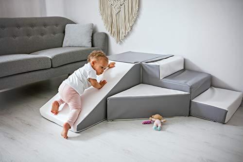 Soft Play 2 You 4 Großbausteine Schaumstoffbausteine Spielbausteine Bauklötze Rutsche-Set (Farbe: weiß,grau)