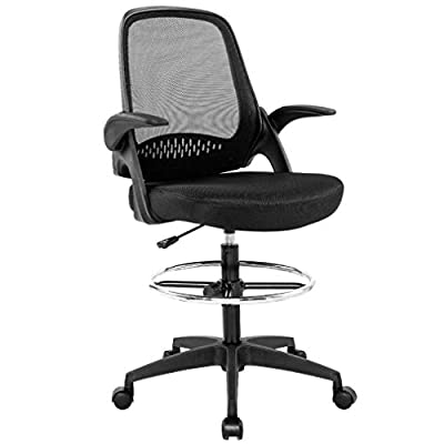 Drafting Chair Tall Office Chair Cheap Desk Chair Mesh Computer Chair Adjustable Height with Lumbar Support Flip Up Arms Swivel Rolling Executive Chair for Standing Desk by BestOffice