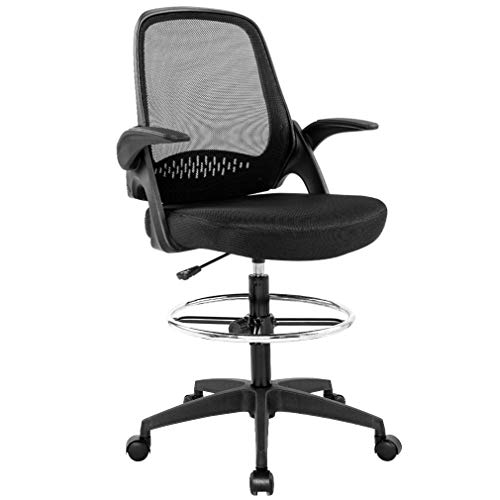 Drafting Chair Tall Office Chair Standing Desk Chair Mesh Computer Chair Adjustable Height with Lumbar Support Flip Up Arms Swivel Rolling Executive Chair,Black