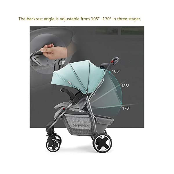 JINGQI Lightweight Folding Stroller Baby Stroller Children Can Sit And Recline Baby Portable Shock-Absorbing Trolley,Applicable Age 0-3 Years Old,Green JINGQI High-quality design: built-in shock absorber spring, flexible universal wheel, 360 degree rotation, PU wear-resistant shock-absorbing tires, five-point safety belt, detachable armrest, large storage basket, temporary storage rack Spacious seat, suitable for babies from 0 to 3 years old, sitting and lying freely, comfortable travel, cockpit and pedals can be adjusted Full sunshade, shelter children from wind and rain, and accompany them to travel safely 6