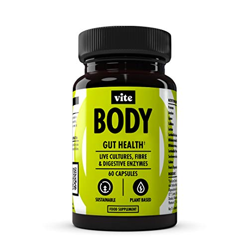 Vite Body - Vegan Total Gut Health Supplement with Digestive Enzymes, Prebiotic Fibre, Probiotic Bacterial Cultures Complex - 30 Servings.