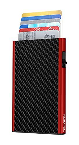 TRU VIRTU® Tarjetero Click & Slide Fibra de carbón Negro/Rojo I Estuche para Tarjetas de crédito I con protección RFID-NFC I Estuche para Tarjetas de Aluminio I Tarjetero I Slim Wallet