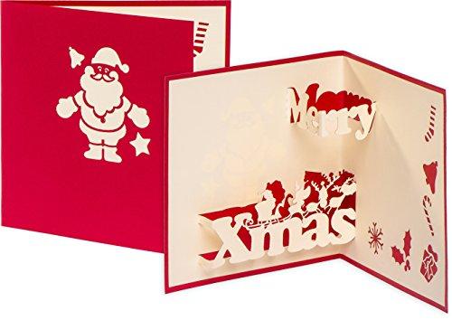 3D Weihnachtskarte Merry Xmas 3D Pop up Karte, Nikolaus, Weihnachtsmann, Grußkarte Frohe Weihnachten, Weihnachtskarten