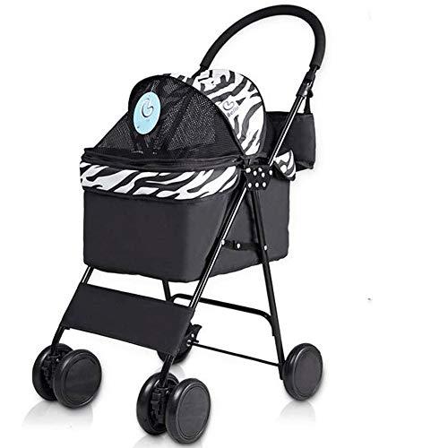 Toestel van het Huisdier Pet Stroller for katten/honden, gemakkelijk op te vouwen met verwisselbare Liner, vier wielen auto kinderwagen outdoor reizen Wheels Shockproof (Color : A)