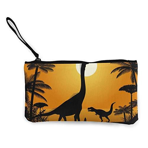 Monedas de lona, dinosaurios – Brachiosaurus y Tyrannosaurus Bolsa de cosméticos de viaje con cremallera Bolsa de maquillaje multifunción Bolsas para teléfono móvil, paquete de lápices con asa