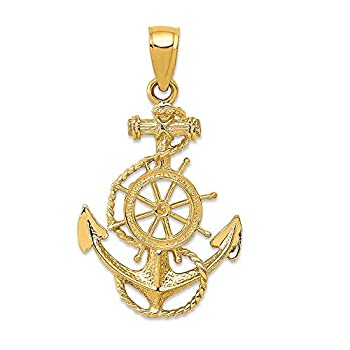 14k Yellow Gold Nautical Anchor Ship Wheel Mariners Pendant Charm Necklace Seashore Fine Jewelry For Women Gifts For Her
