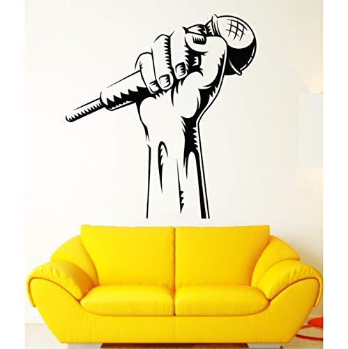 Hwhz 41 X 44 Cm Vinilo Tatuajes De Pared Micrófono Mano Club De Karaoke Rap Batalla Cantante Pegatinas