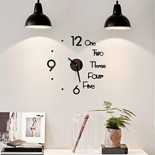 Wandklok om zelf te maken, digitaal, 3D, spiegeloppervlak, stille stickers, klok, ministeries, wandklok, decoratie voor kantoor, slaapkamer, kleur: zwart