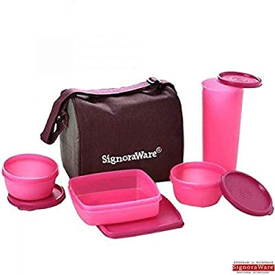Signoraware Jumbo Plastic Best Lunch Box with Insulated Bag, 4-Pieces, Pink