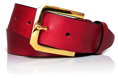Cinturón de mujer en piel legítima - Hebilla oro - Cuero vaquetilla - 4 cm de ancho - Vestidos,...