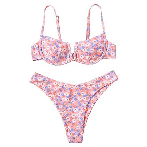 MUGE LEEN Mujeres Sexy 2 Piezas Bikini Set V-Cuello con Aros Traje de baño Floral Vaca Traje de baño Mujeres Traje de baño Mariposa púrpura