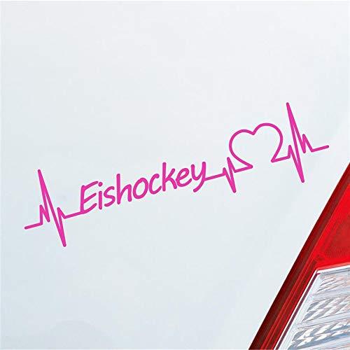 Hellweg Druckerei Auto Aufkleber Eishockey Herzschlag Ballsport Team EIS Sport Sticker Liebe Pink