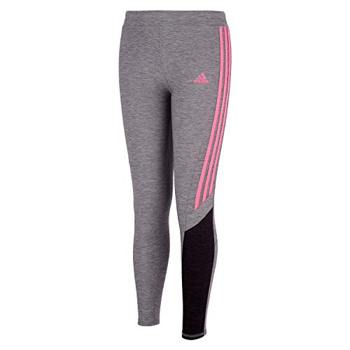 adidas Girls' Active Sports Athletic Legging Tight, Core Fav Charcoal Grey/Pink, Large