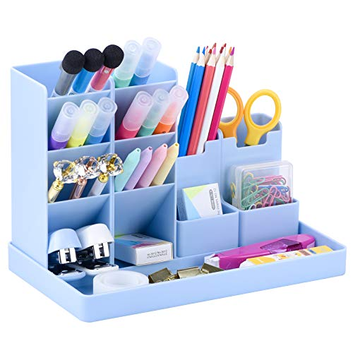 POPRUN Niños Portalápices,organizador de escritorio para lápices, organizador de bolígrafos,cajitas de almacenamiento para niños y niñas, oficina y escuela azul