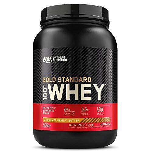 Optimum Nutrition Gold Standard 100% Whey Proteína en Polvo, Glutamina y Aminoácidos Naturales, BCAA, Chocolate Mantequilla de Cacahuete, 28 Porciones, 900g, Embalaje Puede Variar