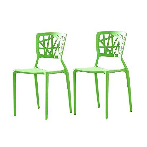 RENJUN - Juego de 2 sillas apilables de plástico para interiores y exteriores, color verde