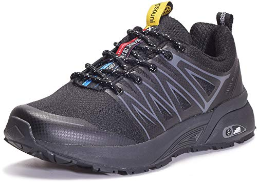 Eagsouni Laufschuhe Herren Damen Traillaufschuhe Sportschuhe Turnschuhe Sneakers Schuhe für Outdoor Fitnessschuhe Joggingschuhe Straßenlaufschuhe, Schwarz D, 44 EU