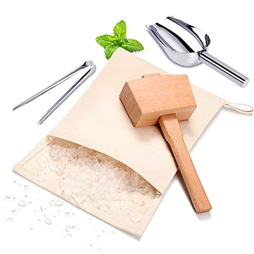Lewis bag and Wooden Mallet Crusher, Reusable Canvas Crushed Ice Bags,Wooden Mallet Bar, Steel Ice Scoop and Ice Tongs, for Summer Bartender Kit & Bar Tools Kitchen Accessory