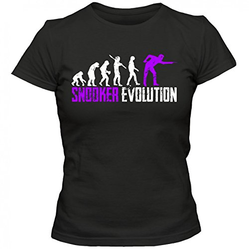 Snooker Evolution #1 T-Shirt | Billard | Billardprofis | Snookerprofi | Frauen | Shirt, Farbe:Schwarz (Deep Black L191);Größe:L
