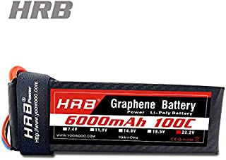 HRB Graphene Battery 6S 6000mAh 100C 22.2V Graphene Lipo Batteries with XT90 Plug for Align T-REX550 600 EDF Jets 500 600 700 Size RC Helicopters Quadcopter Airplane Car Truck Boat Drone and FPV