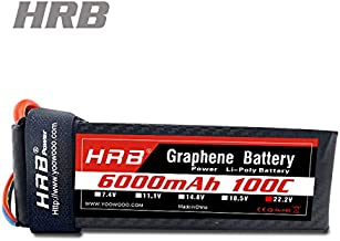 HRB 6S Graphene Battery 6000mAh 100C 22.2V Graphene Lipo Batteries with EC5 Plug for Align T-REX550 600 EDF Jets 500 600 700 Size RC Helicopters Quadcopter Airplane Car Truck Boat Drone and FPV