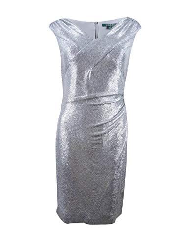 Ralph Lauren Lauren Damen Kleid mit V-Ausschnitt, silberfarben, Größe 2