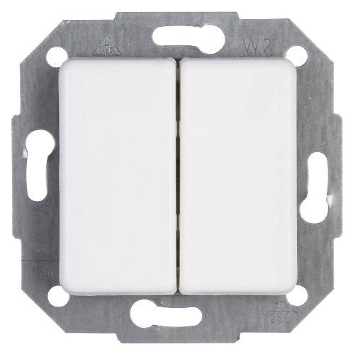 Kopp Europa Serien-Schalter für den Haushalt, mit 2 Wippen, 250V (10A), IP20, Unterputz, Lichtschalter für 2 Leuchtmittel, einfache Wandmontage, arktis-weiß, 613513065