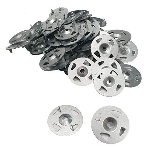 Arandelas de acero inoxidable de fácil fijación, 34 mm de diámetro, paquete de 100 piezas para aislamiento termoboard tableros traseros