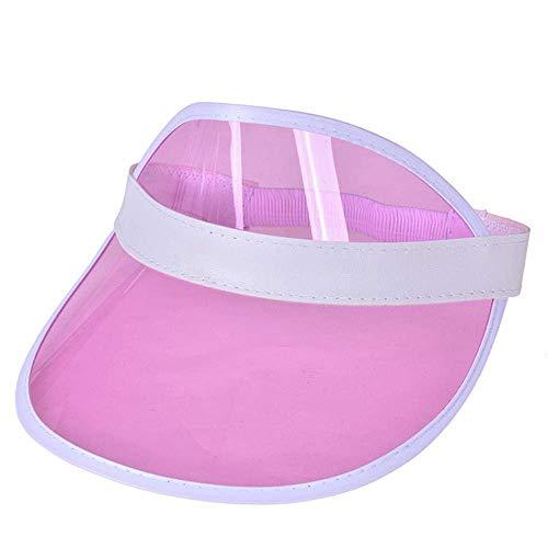 SEESEE.U Summer Sun Hat Candy Farbe Transparent Leere Oberseite Kunststoff PVC Sonnenschutzhut Visierkappen Fahrrad Sonnenschutzhut, Himmelblau