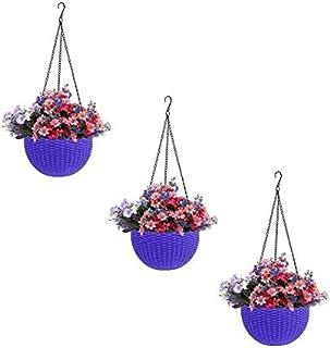 Round Gamla Pot Flower Hanging Round Rattan Woven Plastic Flower Hanging Basket for Garden Balcony (Pack of 3)