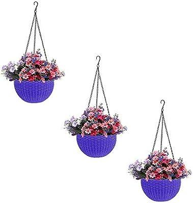 Round Gamla Pot Flower Hanging Round Rattan Woven Plastic Flower Hanging Basket for Garden Balcony Purple (Pack of 3)