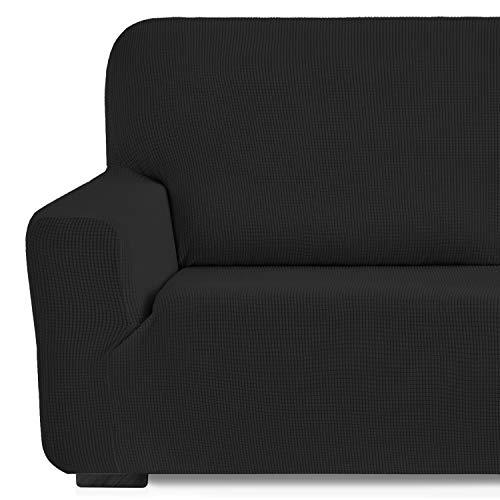 Eiffel Textile Monaco Elastica Adaptable. Funda Sofa Lisa, 94% poliéster 6% Elastano, Negro, 3 Plazas (180-240 cm)