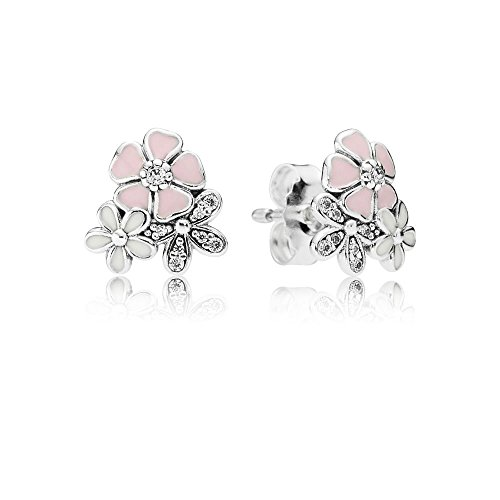Stonebeads Poetic Blooms Stud Earrings in 925 sterling silver with clear cubic zirconia stones and enamel in white and pink soft