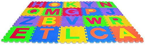 Edu-Tiles Foam Letters Play Matt For Kids - Full Alphabet Included For 26 Pieces Of Fun! - Develops Children's Motor Skills And Color Recognition - Both A Fun and Educational Experience