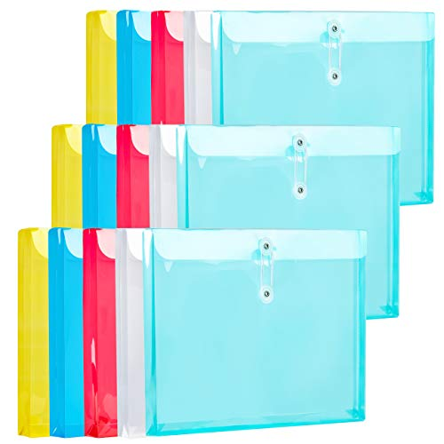 """15 Packs Assorted Color Plastic Envelopes with Button & String Tie Closure,1"""" Expansion, Legal Size, Side Loading Clear File Folders Poly Project Paper Documents Organizer for Office School Home"""