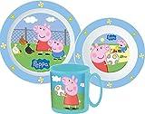 Javoli Peppa Pig Kinder Geschirr Set Tasse mit Henkel Teller Schale dreiteilig Kunststoff mikrowellengeeignet