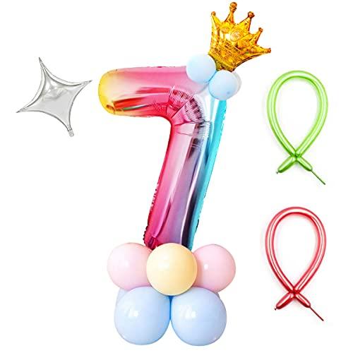 Zahlen Luftballon, Folienballon Geburtstag 0 1 2 3 4 5 6 7 8 9 Regenbogen Zahlen Helium Luftballon Deco, Zahlenballon mit Krone, für Junge Mädchen Geburtstags, Hochzeit, Jubiläum Party Dekoration (7)