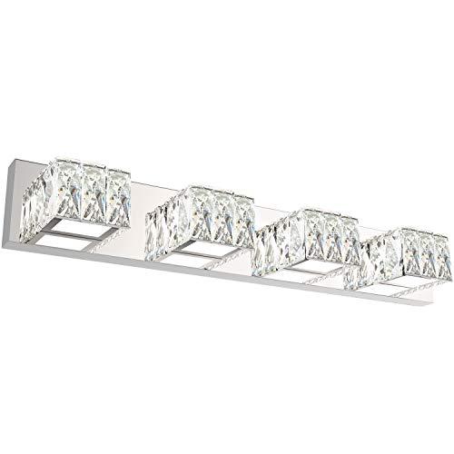 ZUZITO Bathroom Vanity Lighting Fixtures 7800 Modern Crystal Vanity Light Over Mirror White Light,6000K(4 Lights)
