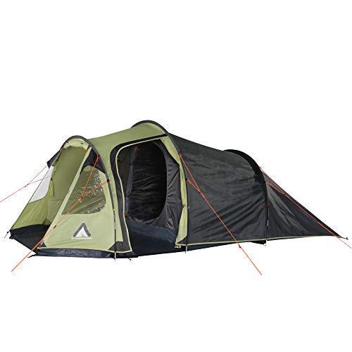 10T Outdoor Equipment Unisex_Adult Tunnelzelt Mandiga Orange 3 Man Tunnel Waterproof Camping 5000 mm Trekking Tent with Porch, Green Grey MB4, standard size