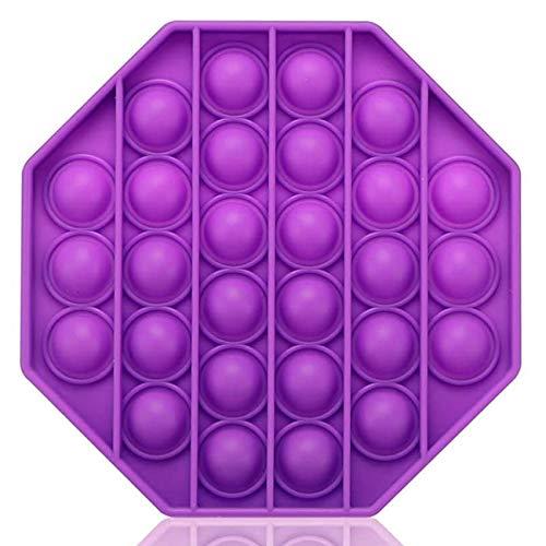 Bdwing Silicona Sensorial Fidget Juguete, Push Pop Bubble Sensory Toy, Autismo Necesidades Especiales Aliviador del Antiestrés del Juguetes para Niños Adultos Relajarse (Purple Octagon)