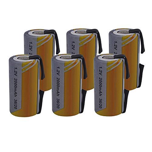 6 X Batteria Pila SC 2000mAh 2.0Ah Ni-Cd 1,2V con lamelle a saldare per pacchi batterie trapani torce allarmi