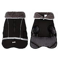 大型犬冬防水ペットの犬のコートジャケット反射服のための暖かい厚手の毛皮ビッグ犬服 快適 (Color : Black, Size : 3XL.)