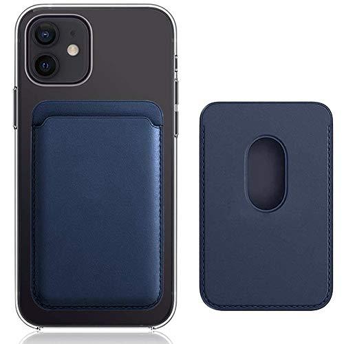Hikissny Estuche para Tarjetas de Cuero con Billetera para iPhone, Compatible con iPhone 11 Pro MAX, Portatarjetas de Cuero para Billetera + Funda Magnética Transparente para Teléfono, Azul