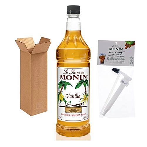Monin - Vanilla Syrup with Monin BPA Free Pump, Boxed, Versatile Flavor, Great for Coffee, Shakes, and Cocktails, Gluten-Free, Non-GMO (1 Liter)