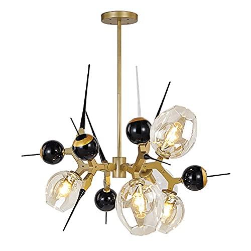 HLY Lámpara de araña simple, lámpara colgante, lámpara de techo, lámpara de techo, industrial retro Sputnik, bola de cristal 5-S E27, colgante antiguo Starburst, acabado en bronce, ajustable para pas