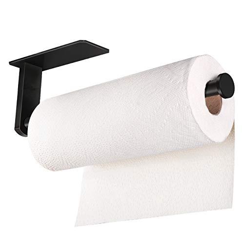 SERIJUTT - Toallero de papel para colocar debajo del gabinete, autoadhesivo, color negro, para papel de cocina, acero inoxidable, color negro